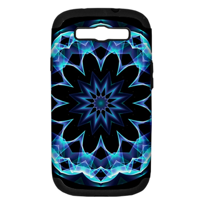 Crystal Star, Abstract Glowing Blue Mandala Samsung Galaxy S III Hardshell Case (PC+Silicone)