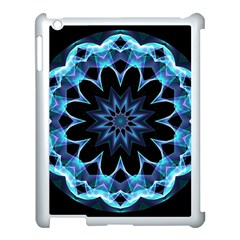 Crystal Star, Abstract Glowing Blue Mandala Apple Ipad 3/4 Case (white) by DianeClancy