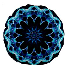 Crystal Star, Abstract Glowing Blue Mandala 18  Premium Round Cushion  by DianeClancy