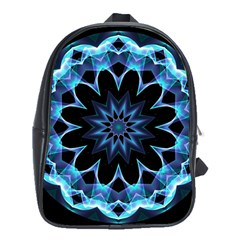 Crystal Star, Abstract Glowing Blue Mandala School Bag (xl) by DianeClancy