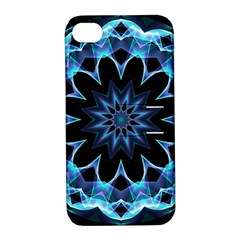 Crystal Star, Abstract Glowing Blue Mandala Apple Iphone 4/4s Hardshell Case With Stand by DianeClancy