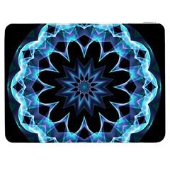 Crystal Star, Abstract Glowing Blue Mandala Samsung Galaxy Tab 7  P1000 Flip Case by DianeClancy