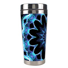 Crystal Star, Abstract Glowing Blue Mandala Stainless Steel Travel Tumbler by DianeClancy