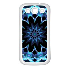 Crystal Star, Abstract Glowing Blue Mandala Samsung Galaxy S3 Back Case (white) by DianeClancy