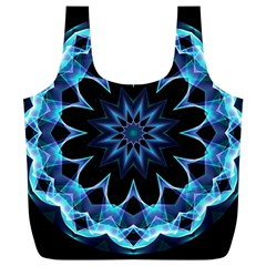 Crystal Star, Abstract Glowing Blue Mandala Reusable Bag (xl) by DianeClancy