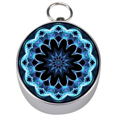 Crystal Star, Abstract Glowing Blue Mandala Silver Compass by DianeClancy