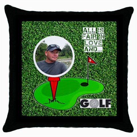 Golf Black Throw Pillow By Joy Johns   Throw Pillow Case (black)   Omo1kjz0dw80   Www Artscow Com Front