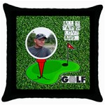 Golf black throw pillow - Throw Pillow Case (Black)