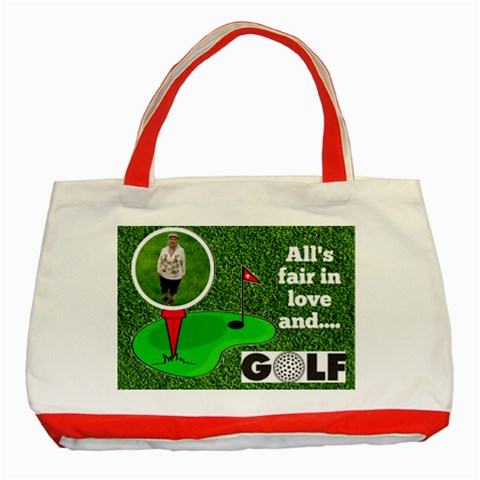 Lady Golfer s Tote Bag By Joy Johns   Classic Tote Bag (red)   V0rd0homngt8   Www Artscow Com Front