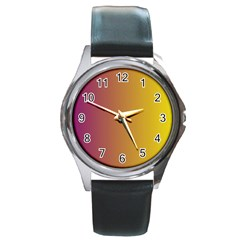 Tainted  Round Leather Watch (silver Rim) by Colorfulart23