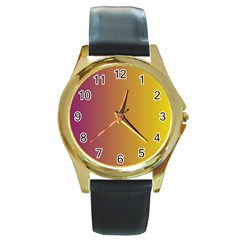 Tainted  Round Leather Watch (gold Rim)  by Colorfulart23