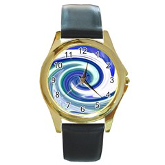 Abstract Waves Round Leather Watch (gold Rim)  by Colorfulart23