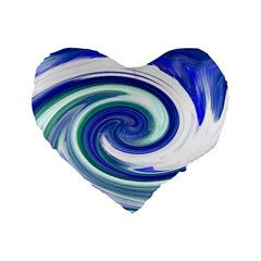 Abstract Waves 16  Premium Heart Shape Cushion  by Colorfulart23