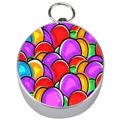 Colored Easter Eggs Silver Compass by StuffOrSomething