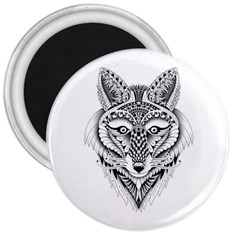 Ornate Foxy Wolf 3  Button Magnet by Zandiepants