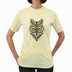 Ornate Foxy Wolf Women s T-shirt (Yellow) by Zandiepants