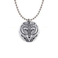 Ornate Foxy Wolf Button Necklace