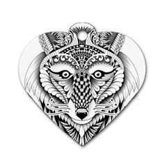 Ornate Foxy Wolf Dog Tag Heart (One Sided)  by Zandiepants