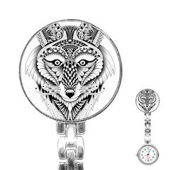 Ornate Foxy Wolf Stainless Steel Nurses Watch by Zandiepants