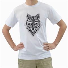 Ornate Foxy Wolf Men s T Shirt (white)  by Zandiepants