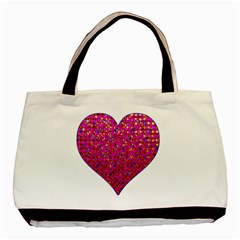 Polka Dot Sparkley Jewels 1 Twin Sided Black Tote Bag by MedusArt