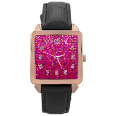 Polka Dot Sparkley Jewels 1 Rose Gold Leather Watch  by MedusArt
