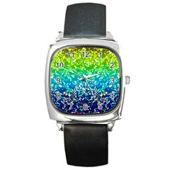 Glitter 4 Square Leather Watch by MedusArt