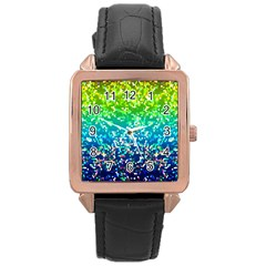 Glitter 4 Rose Gold Leather Watch  by MedusArt