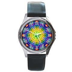 Psychedelic Abstract Round Leather Watch (silver Rim) by Colorfulplayground