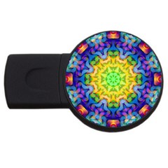 Psychedelic Abstract 4gb Usb Flash Drive (round) by Colorfulplayground