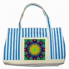 Psychedelic Abstract Blue Striped Tote Bag by Colorfulplayground