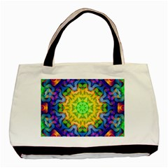 Psychedelic Abstract Twin Sided Black Tote Bag by Colorfulplayground