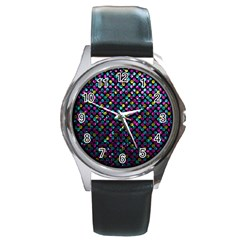 Polka Dot Sparkley Jewels 2 Round Leather Watch (silver Rim) by MedusArt