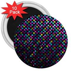 Polka Dot Sparkley Jewels 2 3  Button Magnet (10 Pack) by MedusArt