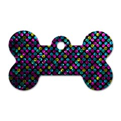 Polka Dot Sparkley Jewels 2 Dog Tag Bone (one Sided) by MedusArt