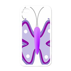 Cute Awareness Butterfly Apple Iphone 4 Case (white) by FunWithFibro