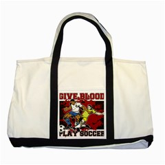 Give Blood Play Soccer Two Tone Tote Bag by MegaSportsFan