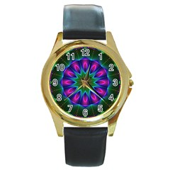 Star Of Leaves, Abstract Magenta Green Forest Round Leather Watch (gold Rim)  by DianeClancy