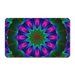 Star Of Leaves, Abstract Magenta Green Forest Magnet (rectangular) by DianeClancy
