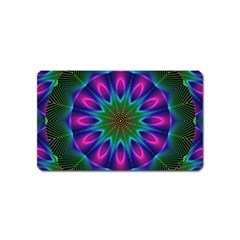 Star Of Leaves, Abstract Magenta Green Forest Magnet (Name Card) by DianeClancy