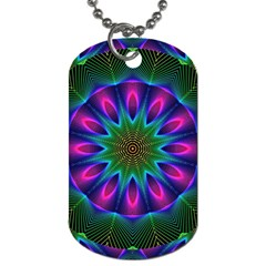 Star Of Leaves, Abstract Magenta Green Forest Dog Tag (two Sided)