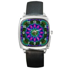 Star Of Leaves, Abstract Magenta Green Forest Square Leather Watch by DianeClancy
