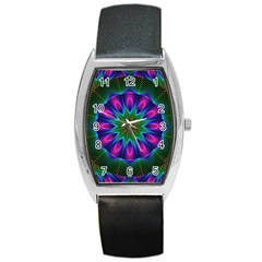 Star Of Leaves, Abstract Magenta Green Forest Tonneau Leather Watch by DianeClancy