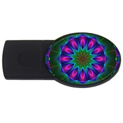 Star Of Leaves, Abstract Magenta Green Forest 4gb Usb Flash Drive (oval) by DianeClancy