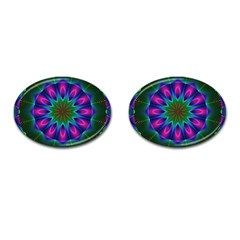 Star Of Leaves, Abstract Magenta Green Forest Cufflinks (oval) by DianeClancy