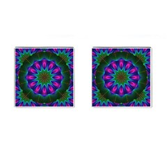 Star Of Leaves, Abstract Magenta Green Forest Cufflinks (square) by DianeClancy