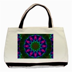 Star Of Leaves, Abstract Magenta Green Forest Classic Tote Bag by DianeClancy