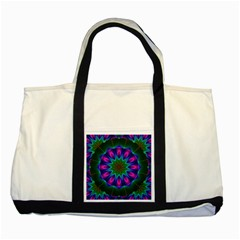 Star Of Leaves, Abstract Magenta Green Forest Two Toned Tote Bag by DianeClancy
