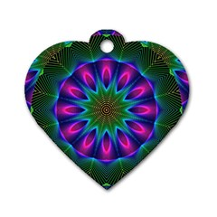 Star Of Leaves, Abstract Magenta Green Forest Dog Tag Heart (one Sided)  by DianeClancy