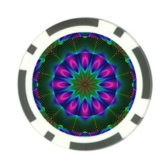 Star Of Leaves, Abstract Magenta Green Forest Poker Chip by DianeClancy